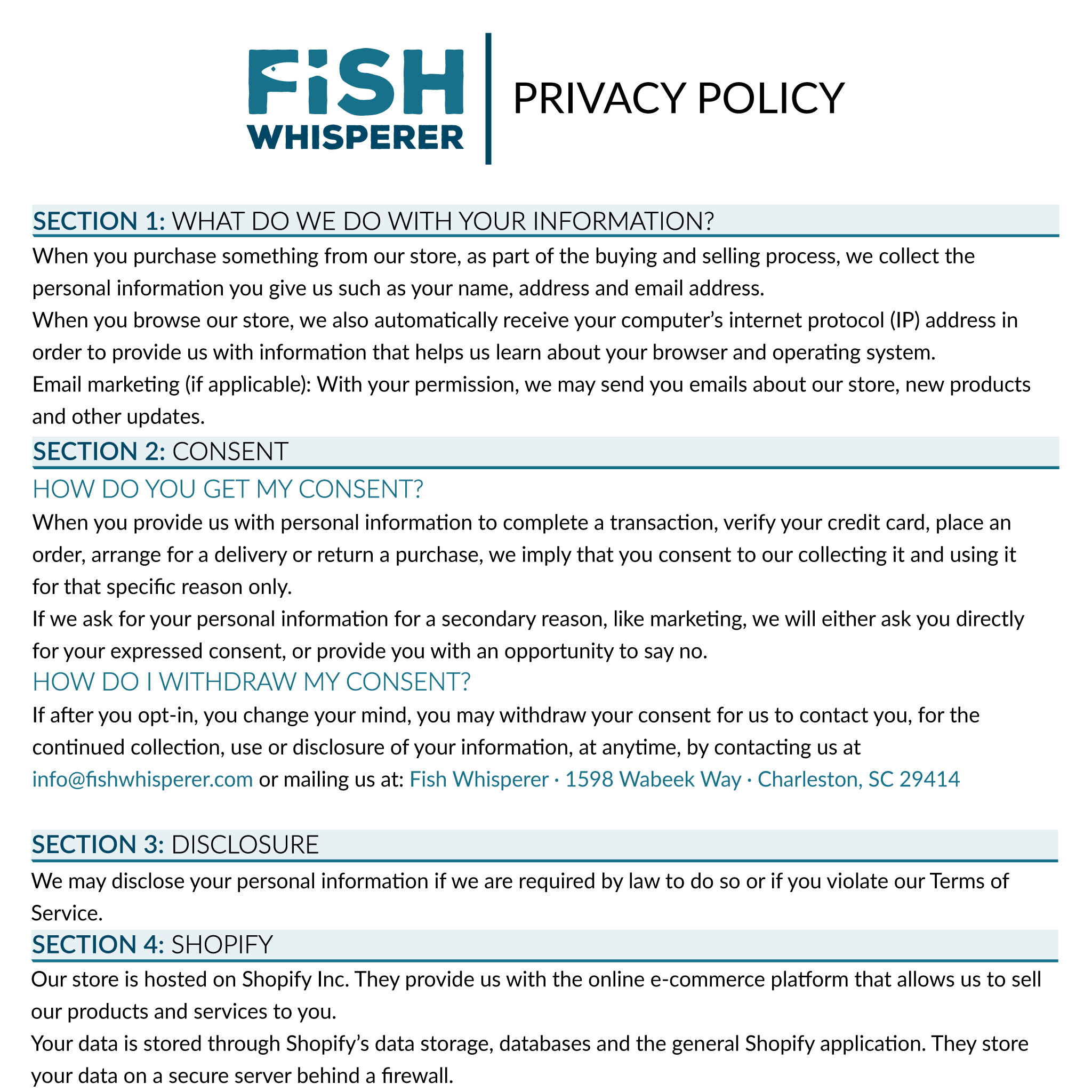 FishWhisperer Privacy Policy
