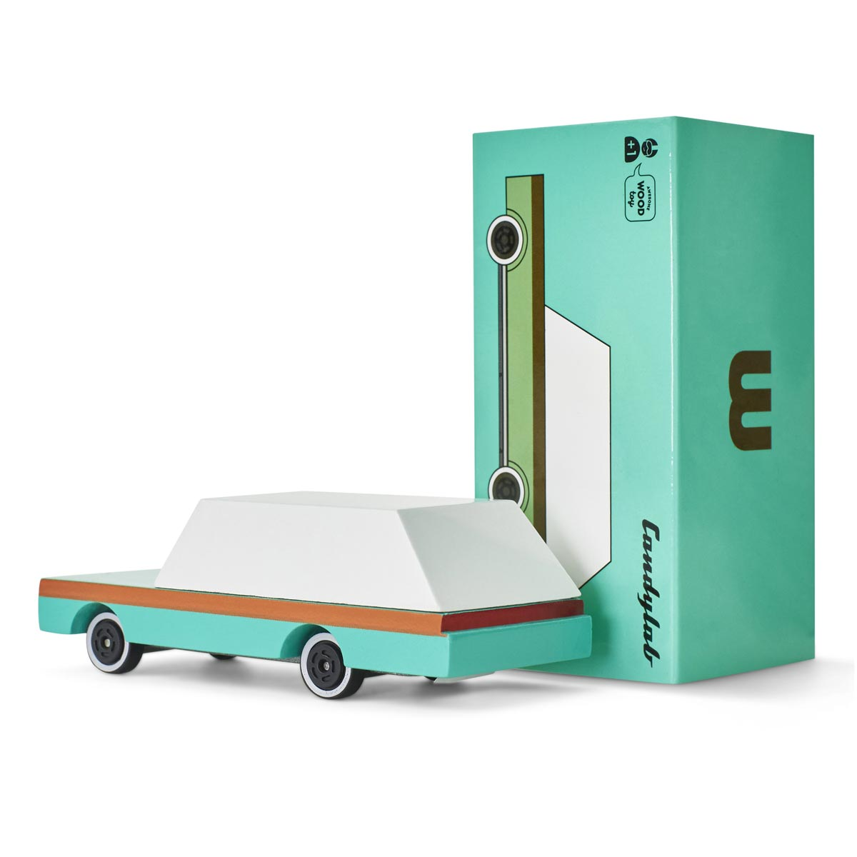 Candylab's Candycar in Teal Wagon • Vintage Wooden Station Wagon Car • Whimsical, Modern, Non-Toxic