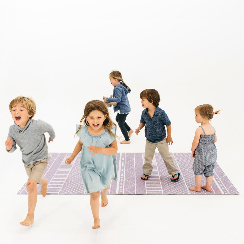 The Cali Rug in Lavender Purple • Two-Sided, Memory Foam Play Mat with Modern, Boho-Inspired Designer Rug Pattern
