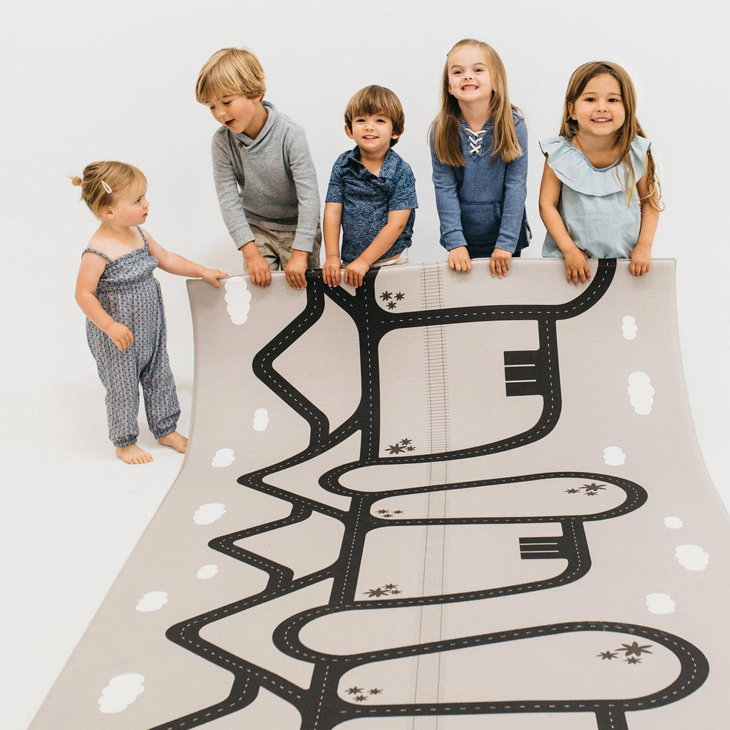 The Cali Rug in Lavender Purple • Two-Sided, Memory Foam Play Mat with Interactive Play Map on the Back
