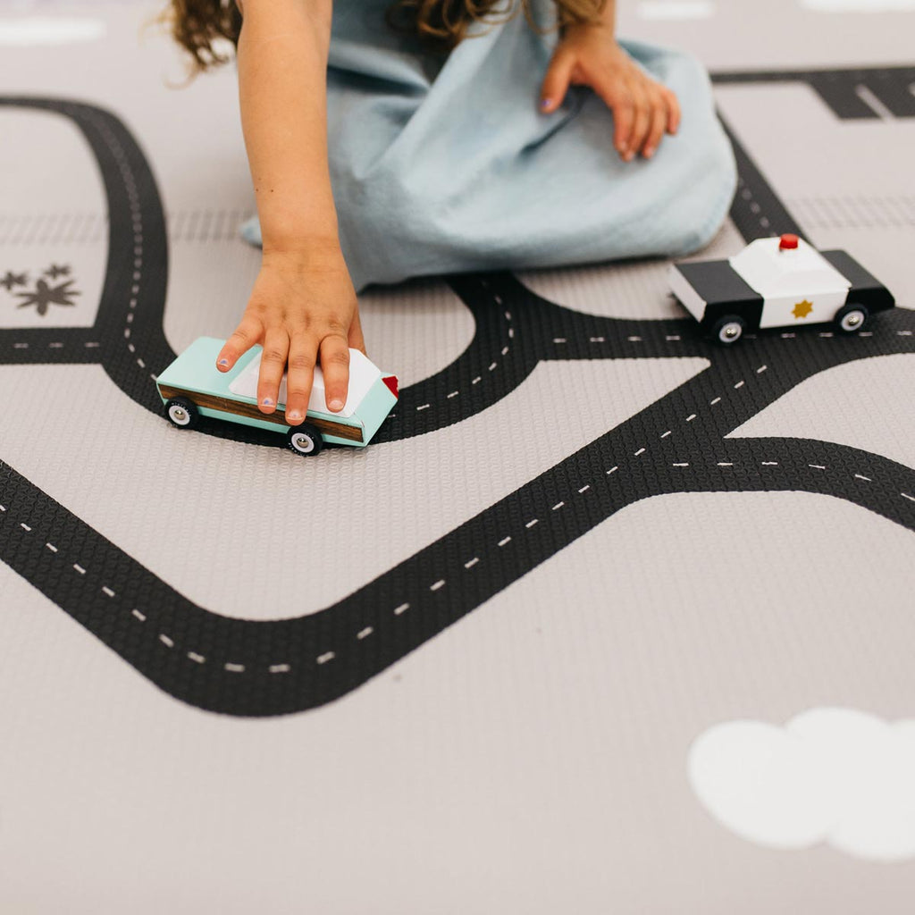 Designer Play Rugs • Two-Sided, Memory Foam Play Mat with Interactive Play Map on the Back