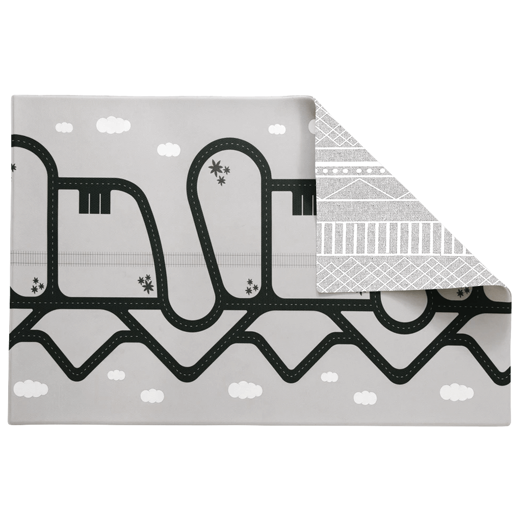 The Cali Rug in Neutral Grey • Two-Sided, Memory Foam Play Mat with Interactive Play Map on the Back