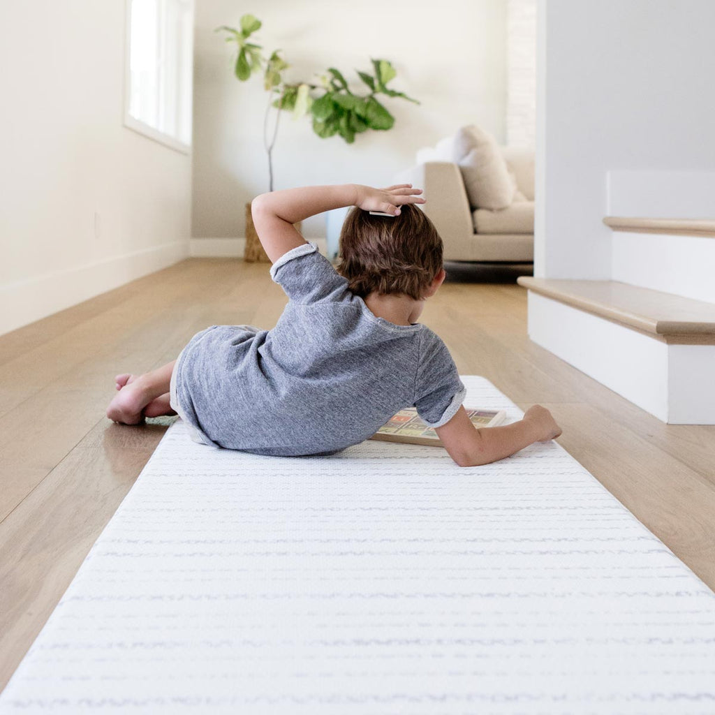 The Lola Runner by Ruggish • Two-Sided, Memory Foam Play Mat with Neutral, Striped Designer Rug Pattern