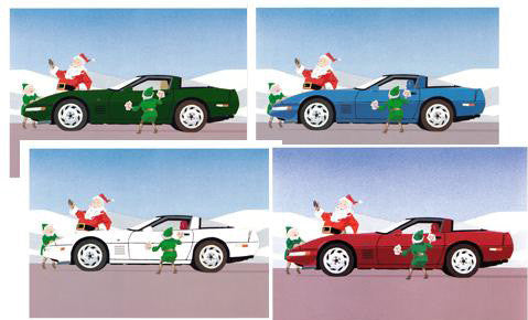 1990 Corvette Christmas Cards