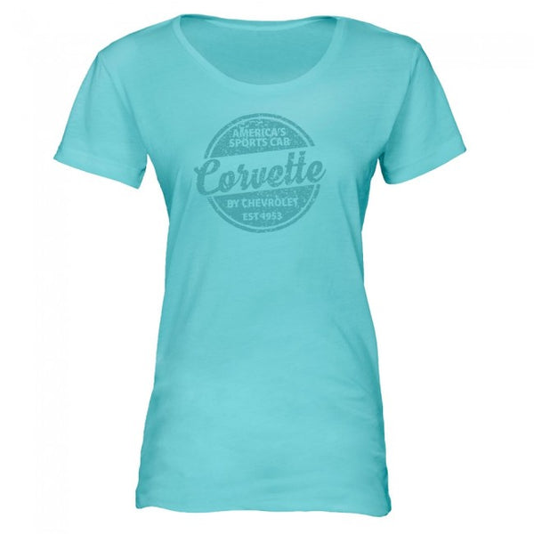 Ladies American Sports Car Tee - Seaglass