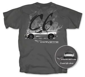 C6 Corvette T-shirt - Charcoal Flames Grey - Small & 3X Only