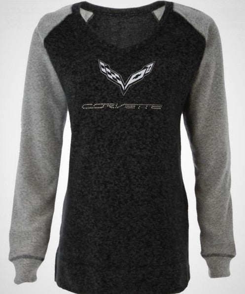 Ladies C7 Bling V-Neck Pullover Heathered Black/Gray