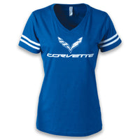 C7 Corvette Ladies Football Jersey Tee