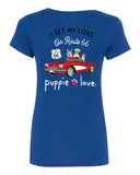 Ladies V-Neck I Get My Licks on Route 66 Short Sleeve