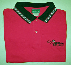 Corvette Golf Shirt - Outer Banks - Red Black/White Collar