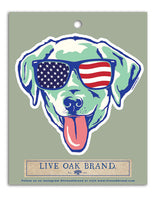 Patriotic Dog in Sunglasses Decal