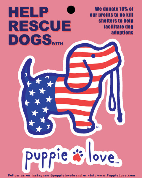 Puppie Love Red White Blue Decal