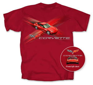 C6 Corvette T-shirt - Red Cross Fire - Small Only