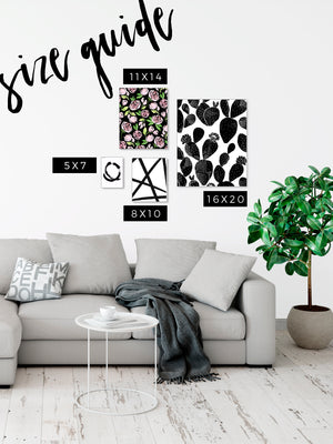 Watercolor Floral Art Print in Black