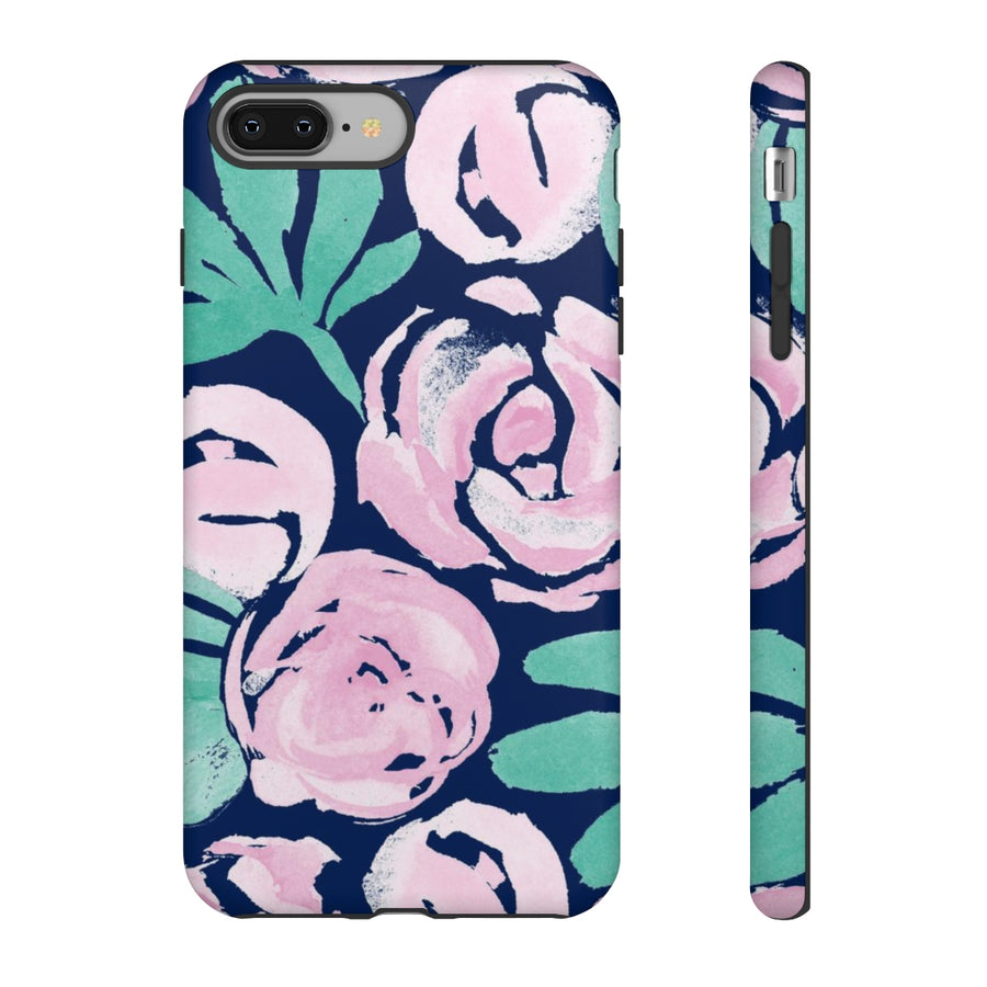 Peony Blooms on Navy TOUGH Case