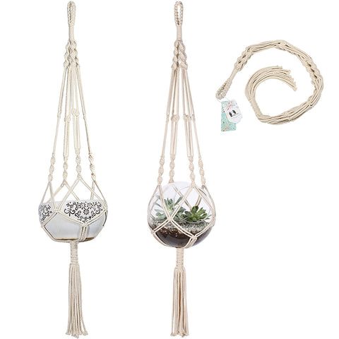 Macrame Plant Hanger Hanging Planter Holder Basket for Flower Pots Indoor Outdoor Garden Decoration, Cotton, 41 Inch(104cm)