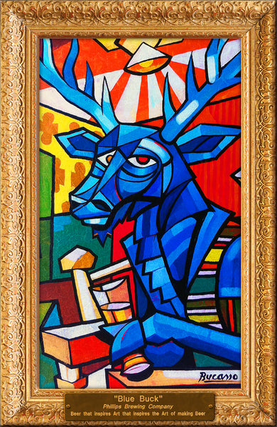 Picasso Blue Buck Mounted Poster