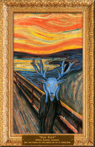 Blue Buck Scream Mounted Poster