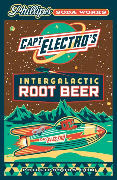 Captain Electro Root Beer Mounted Poster