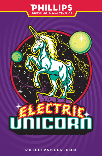 Electric Unicorn Mounted Poster