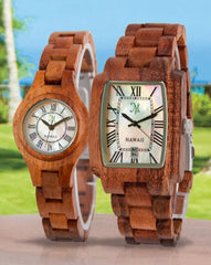 One of the most asked questions about wood watches is whether they are water proof.  Frankly, no watch made with wood components is completely waterproof.  Wood is an organic medium that reacts to water.  Wood watches do not have an acrylic or resin coating which could prevent the wood from reacting to water.  The links and casework of wood watches are simply rubbed with oil to bring out the natural luster of the wood.  This oil finish does not seal the wood and does not make it waterproof.  Hence, you should not wear your wood watch when you go swimming or surfing.  You should not wear your wood watch when you take a bath or shower.  You should not wear your wood watch in a steam room.  You should not let your wood watch go through a washing machine cycle.  That being said, most wood watches are likely to be water resistant.  That means water splashed onto the watch will not likely cause any problems.  Hence, if you are caught in a sudden rain or if you splash water on the wood watch when you are washing your hands, there's no need to worry.  For several years now, wood watches have become very fashionable.  Wood watches are a sign of one's support of sustainability because most wood watches are made from sustainable woods like sandalwood and rosewood.  The carbon impact of creating a wood watches has no detrimental effect on the environment, compared to watches made with metal or plastic bands which utilize archaic fossil fuels and degrade the land.  Frankly, if you're going to buy a wood watch, don't settle for a metal watch with wood veneer glued to the surface.  These cheap metal watches are made in Eastern factories that are not committed to sustainability.  Today, high-end wood companies like Martin & MacArthur in Hawaii take sustainability very seriously.  Martin & MacArthur produces the only wood watches made from solid Koa wood.  Koa wood is the beautiful wood that grows only in Hawaii.  Koa was used by the early Hawaiians to create canoes and weapons.  Eventually, Koa wood became highly revered as the wood of the Hawaiian monarchs.  Martin & MacArthur uses Koa wood from dead and fallen trees to make its Koa wood watches.  More importantly, the Company is a leader in reforesting Koa in Hawaii.  Its efforts have led to over 25,000 new Koa trees being planted in the last five years.  Wood watches are now available in all sizes and styles.  There are self-winding, automatic wood watches which boast of 21-jewel precision accuracy.  There are Moon Phase wood watches which show the phases of the moon on the face of the watch.  And there are wood watches with radiant mother-of-pearl faces.  Regardless of what style of wood watch you wear, be sure to wear it proudly and stay out of the water while wearing it.  ###  Written by Michael Tam, a writer in Hawaii who grows his own fruits and vegetables and wears a wood watch every day.