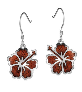 Koa Hibiscus Earrings SS
