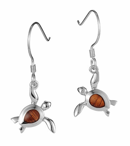 Koa Honu Hook Earrings SS