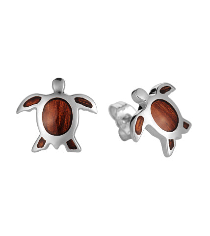 Koa Honu Post Earrings SS