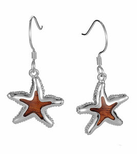 Koa Starfish Hook Earrings SS