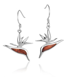 Koa Bird of Paradise Earrings SS
