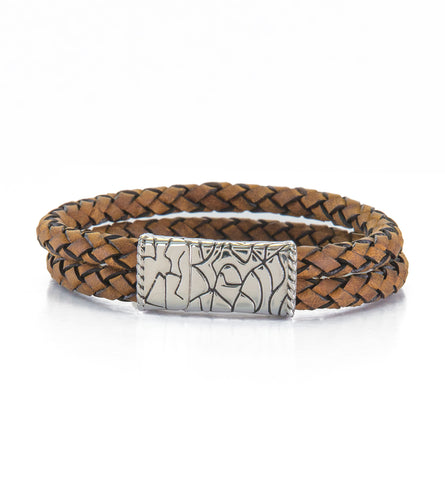 Double Row Camel Leather Bracelet