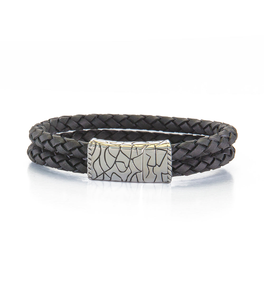 Double Row Black Leather Bracelet