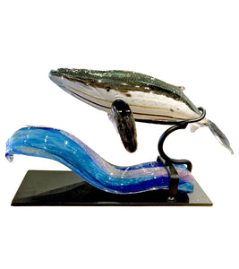 "Glass Sculpture ""Whale on Wave"""