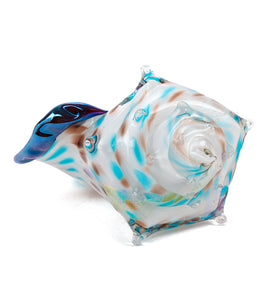 "Glass Sculpture ""Conch Shell White"""