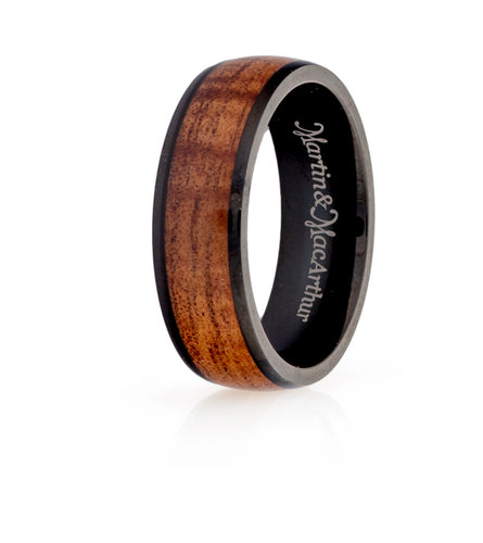 Koa Eternity Ring - Curved Black Cobalt