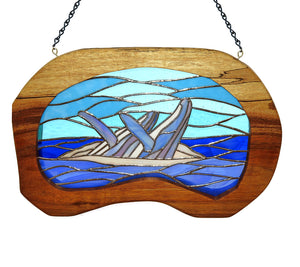 "Stained Glass with Koa ""2 Whales Breaching"""