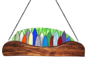 "Stained Glass with Koa ""Surfboard Fence"""