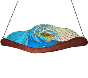 "Stained Glass with Koa ""Open Top Turtle Wave"""