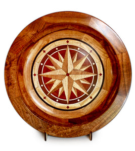 "Segmented Koa Platter ""Compass"" 20"" by Mark and Karen Stebbins"