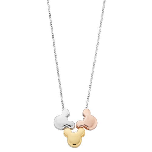 Disney's Mickey Mouse Tri-Tone Sterling Silver Pendant Necklace