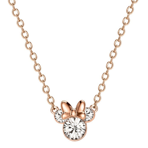 Disney's Minnie Mouse Clear Crystal Necklace - Rose Gold Plated