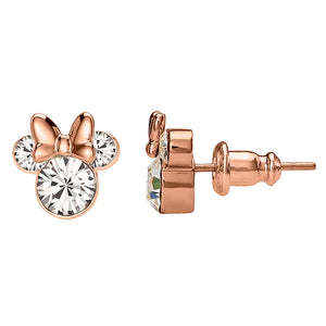 Disney's Minnie Mouse Clear Crystal Stud Earrings - Rose Gold Plated