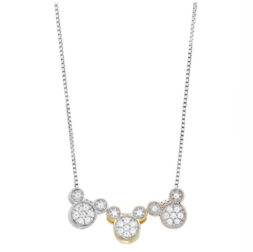 Disney's Mickey Mouse Tri-Tone Cubic Zirconia Necklace Sterling Silver