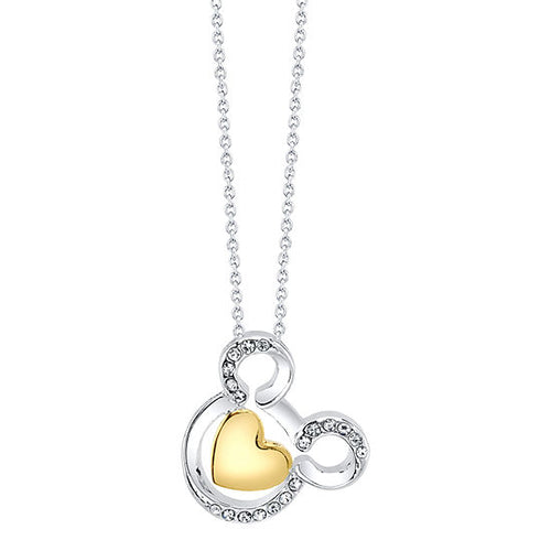 Crystal Pure Silver Over Brass 18 Inch Cable Mickey Mouse Pendant Necklace