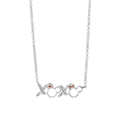 Disney Xoxo Womens Clear Crystal Pure Silver Over Brass Mickey Mouse Pendant Necklace