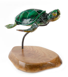 "Glass Sculpture ""Green Sea Turtle #23306"""