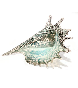"Glass Sculpture ""Green Seashell"" Extra Large"