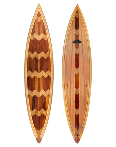 Koa Surfboard w/Exotic Wood Accents # 87