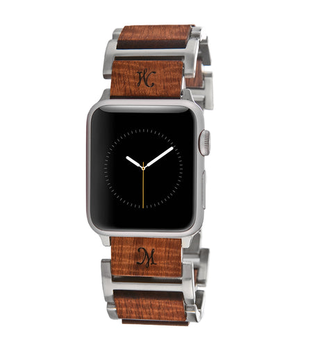 Koa Hybrid Rhodium Apple Watch Band