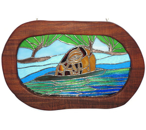 "Stained Glass with Koa ""Turtle Head in Water"""